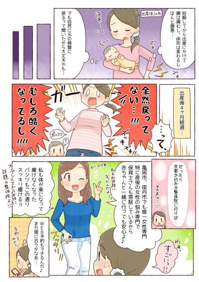 産後の痛み、腰痛、肩こり、京都市、亀岡