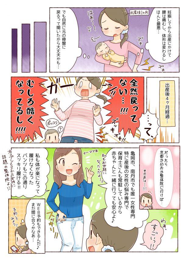 産後の痛み、腰痛、肩こり、京都市、亀岡市